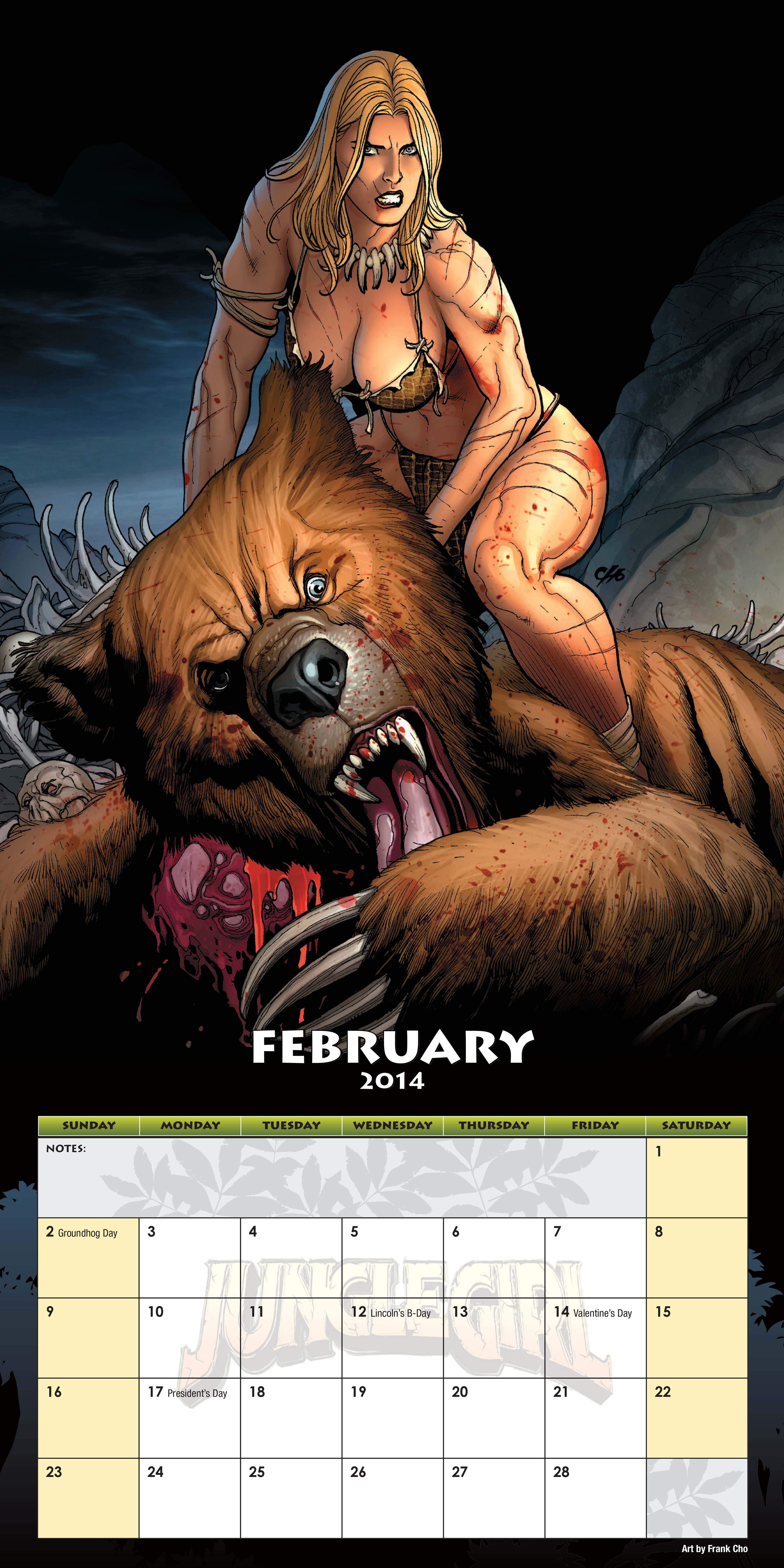 dynamite u00ae jungle girl 2014 wall calendar