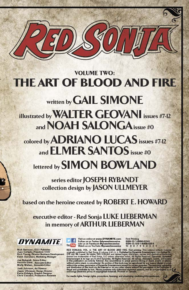 Dynamite® Red Sonja Tp Vol 02 Art Of Blood And Fire